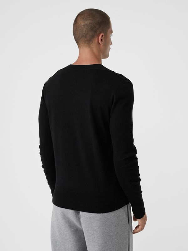 Check Detail Merino Wool Sweater in Black - Men | Burberry Hong Kong - cell image 2
