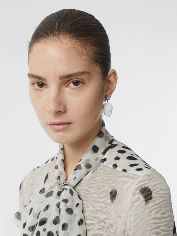 Crystal and Doll's Head Palladium-plated Earrings in White/palladium - Women | Burberry - cell image 2