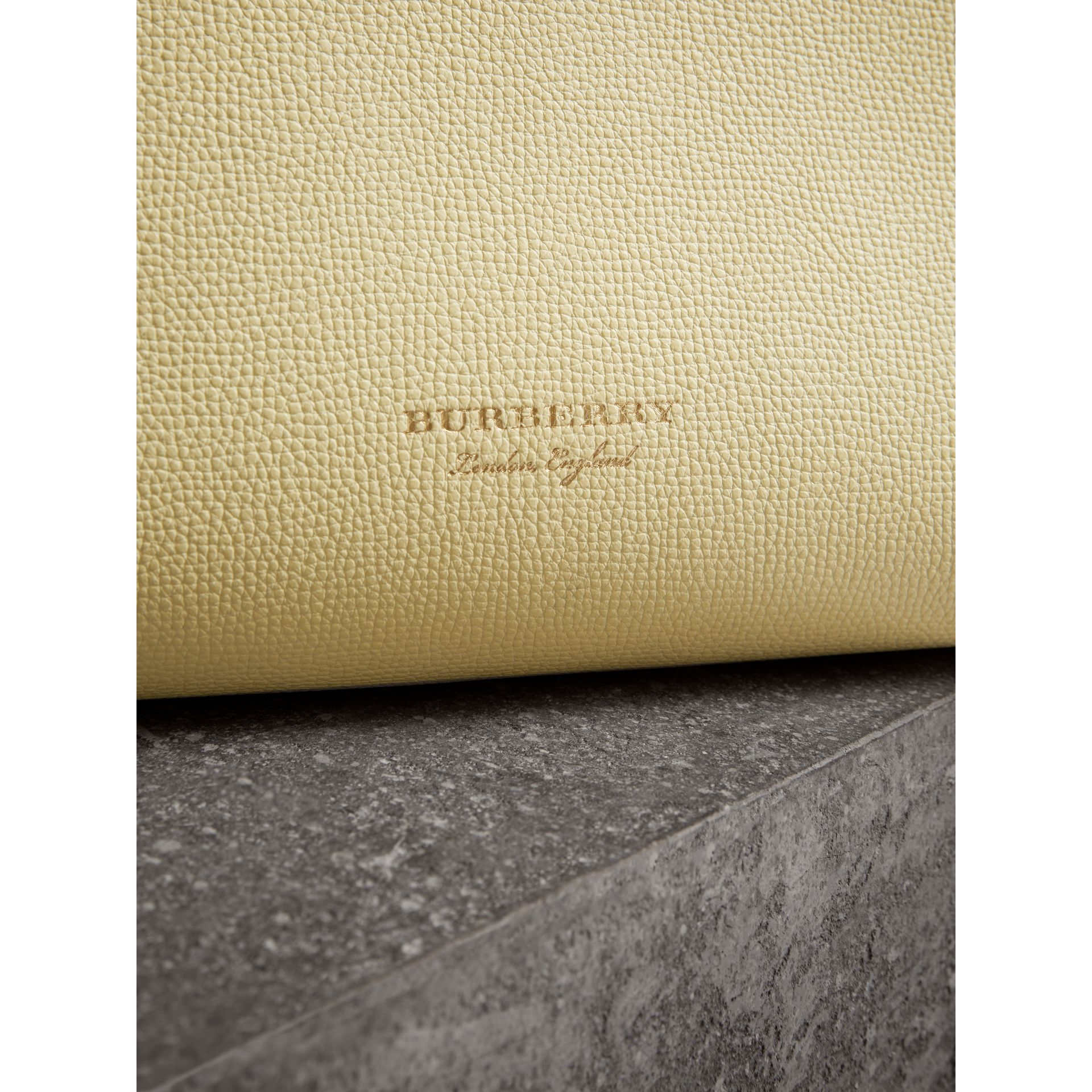 The Medium Banner in Leather and House Check in Camomile Yellow - Women | Burberry - gallery image 1