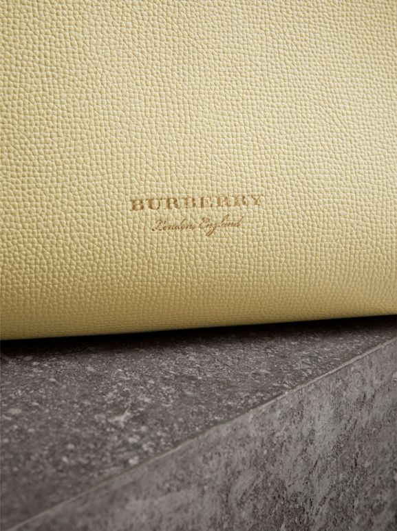 The Medium Banner in Leather and House Check in Camomile Yellow - Women | Burberry - cell image 1