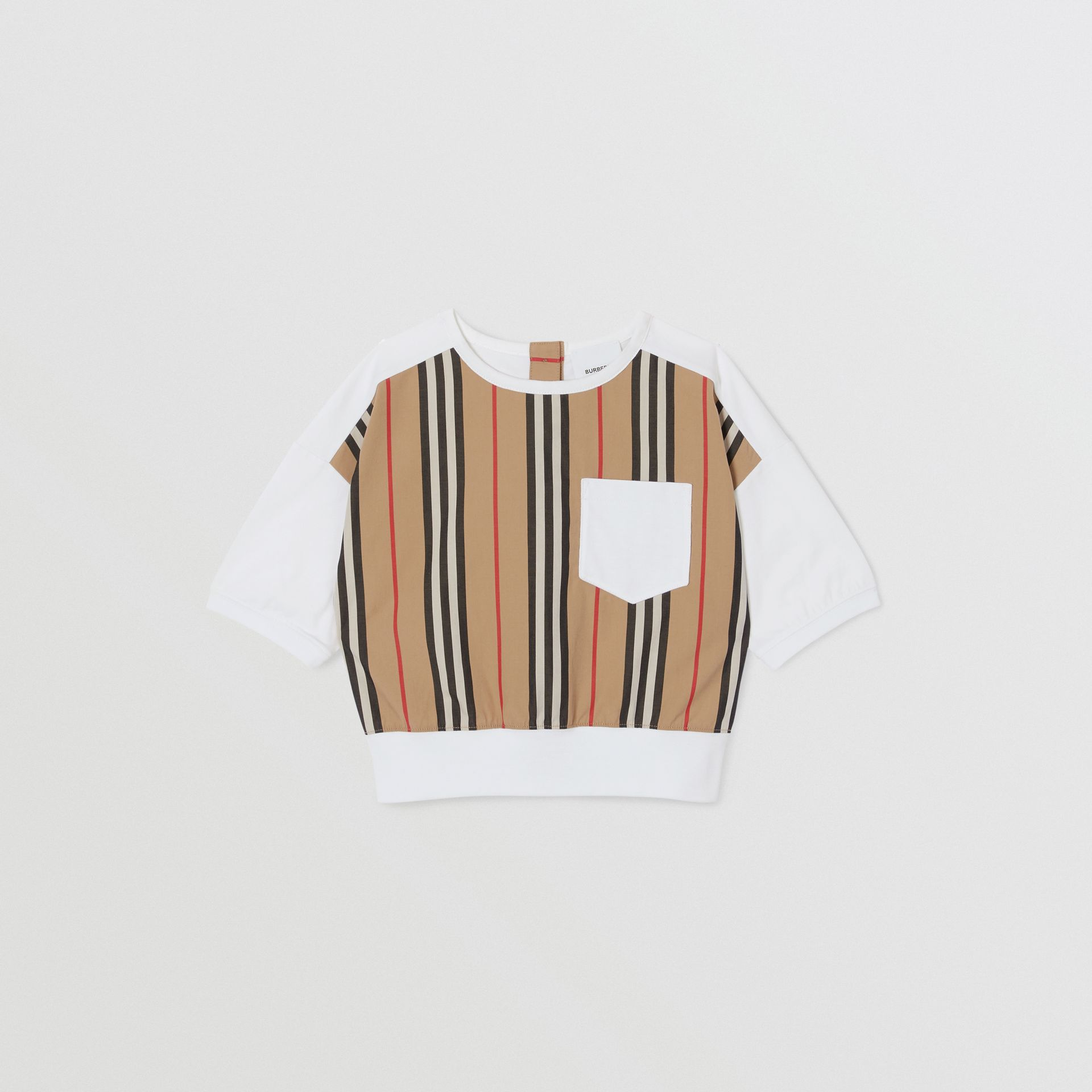 Icon Stripe Panel Cotton T-shirt in White | Burberry United Kingdom - gallery image 0