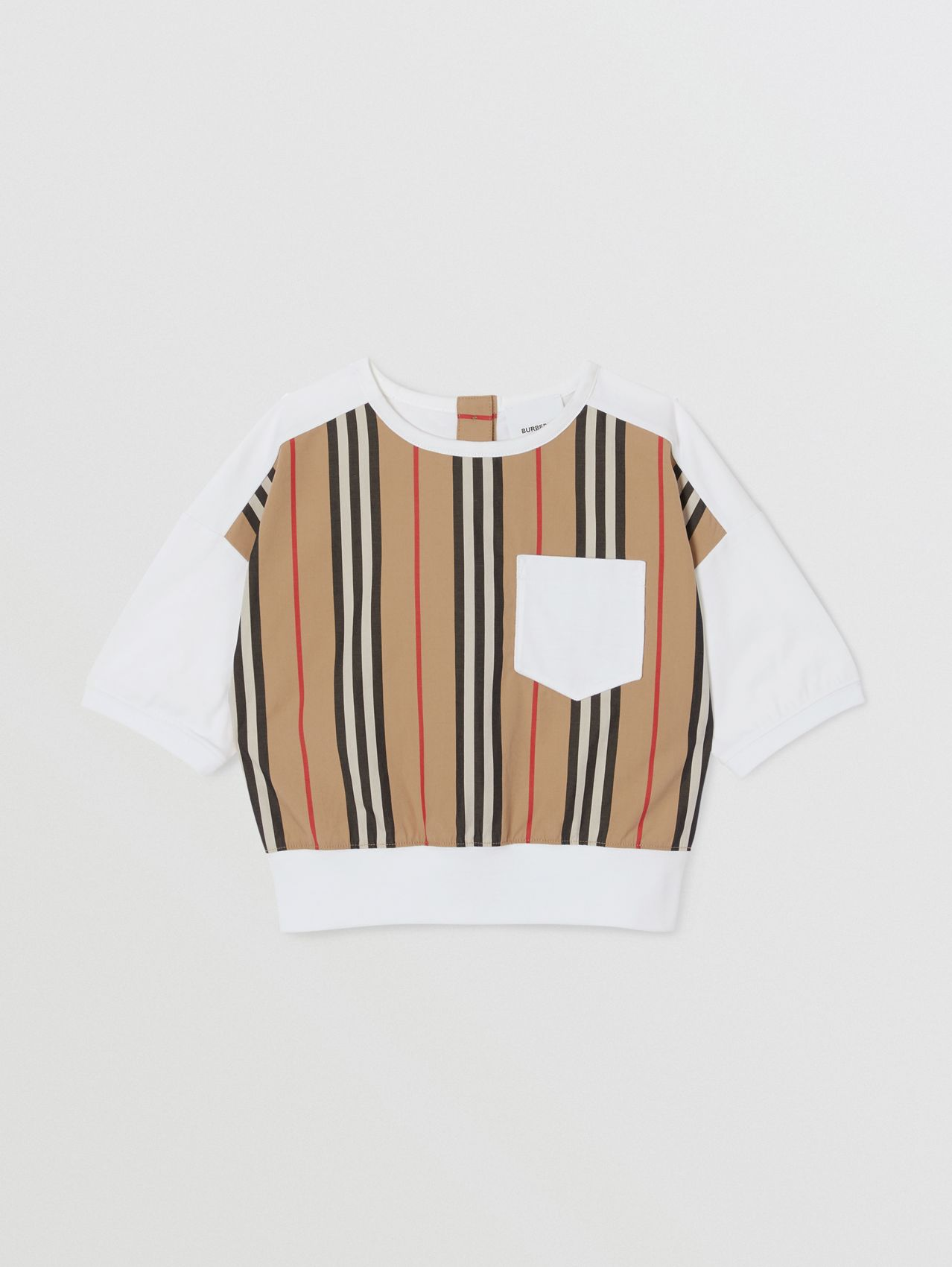 Camiseta en algodón con panel a rayas Icon Stripe (Blanco)
