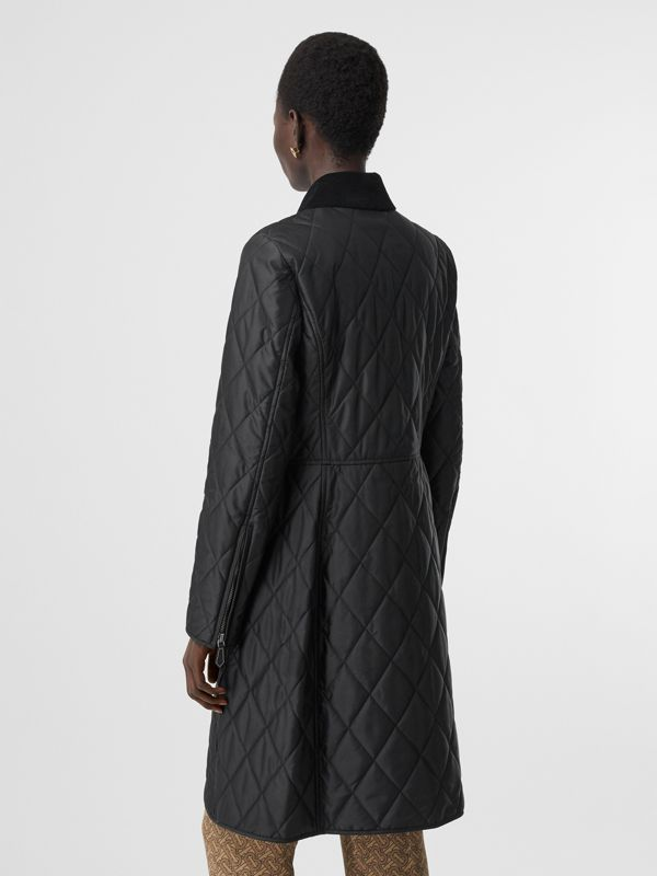 Monogram Motif Quilted Riding Coat in Black - Women | Burberry - cell image 2