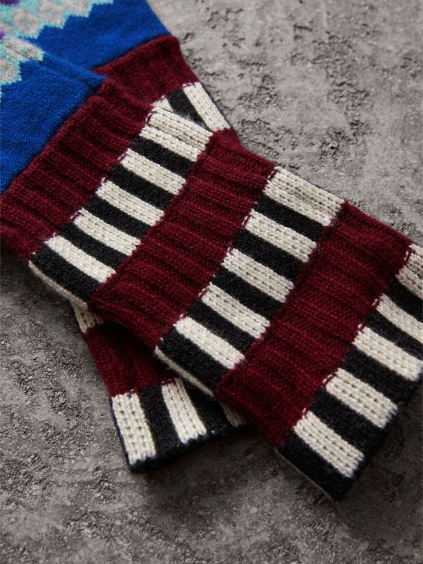 Striped Fair Isle Cashmere Wool Fingerless Gloves in Bright Blue | Burberry - cell image 2