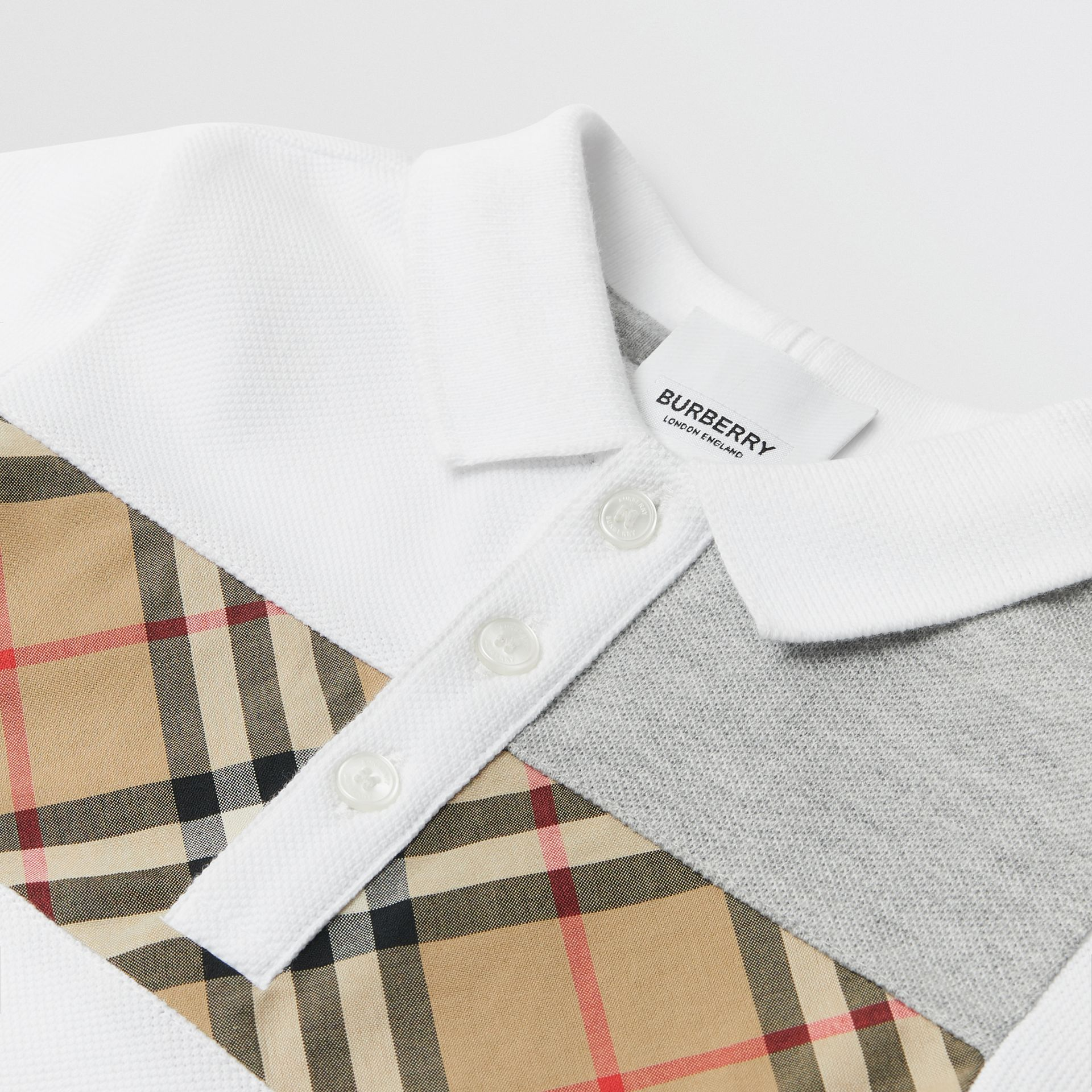 Vintage Check Panel Cotton Polo Shirt in White - Children | Burberry - gallery image 1