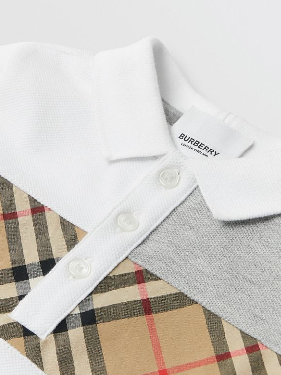 Vintage Check Panel Cotton Polo Shirt in White - Children | Burberry Singapore - cell image 1