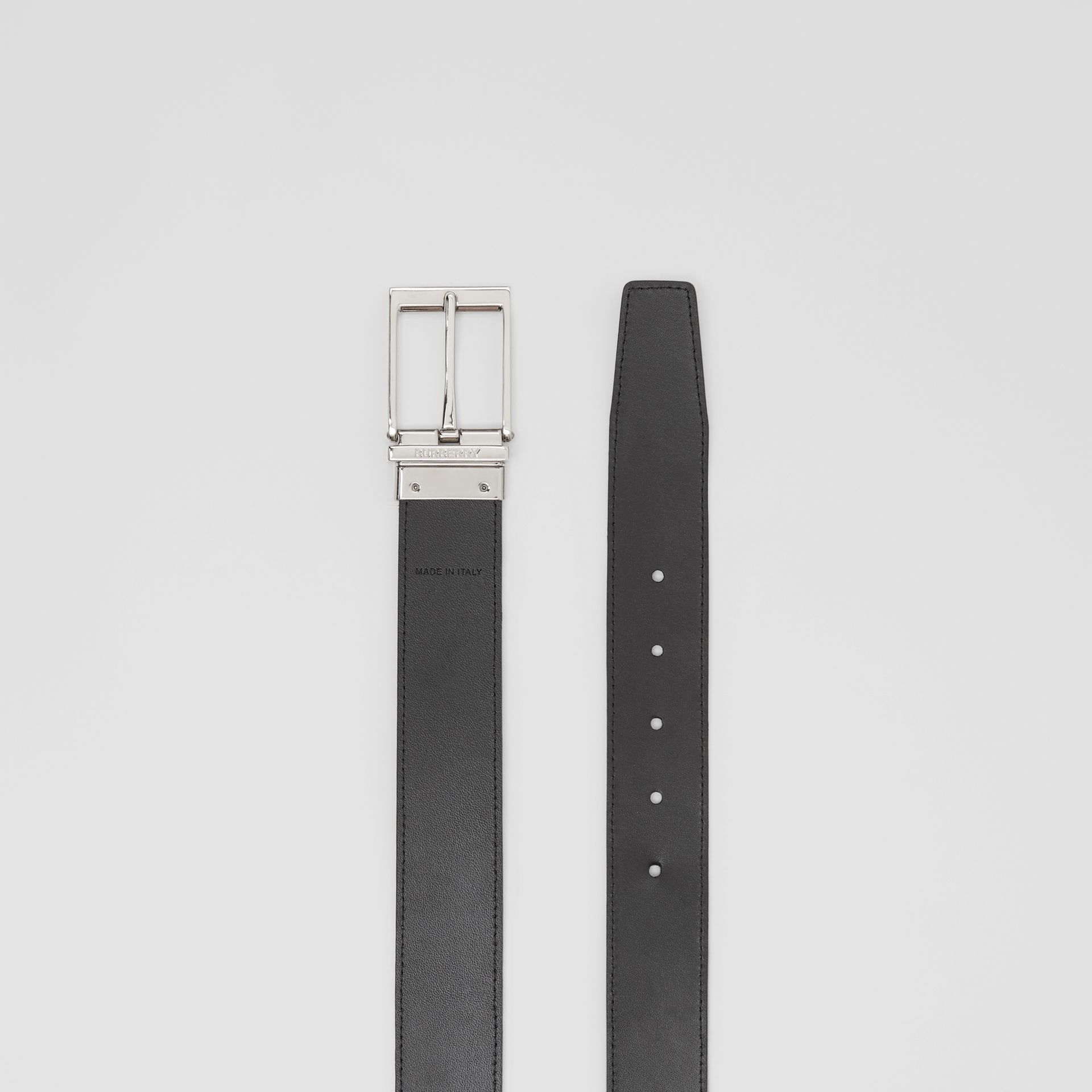 Reversible Vintage Check E-canvas and Leather Belt in Archive Beige/black - Men | Burberry - gallery image 6