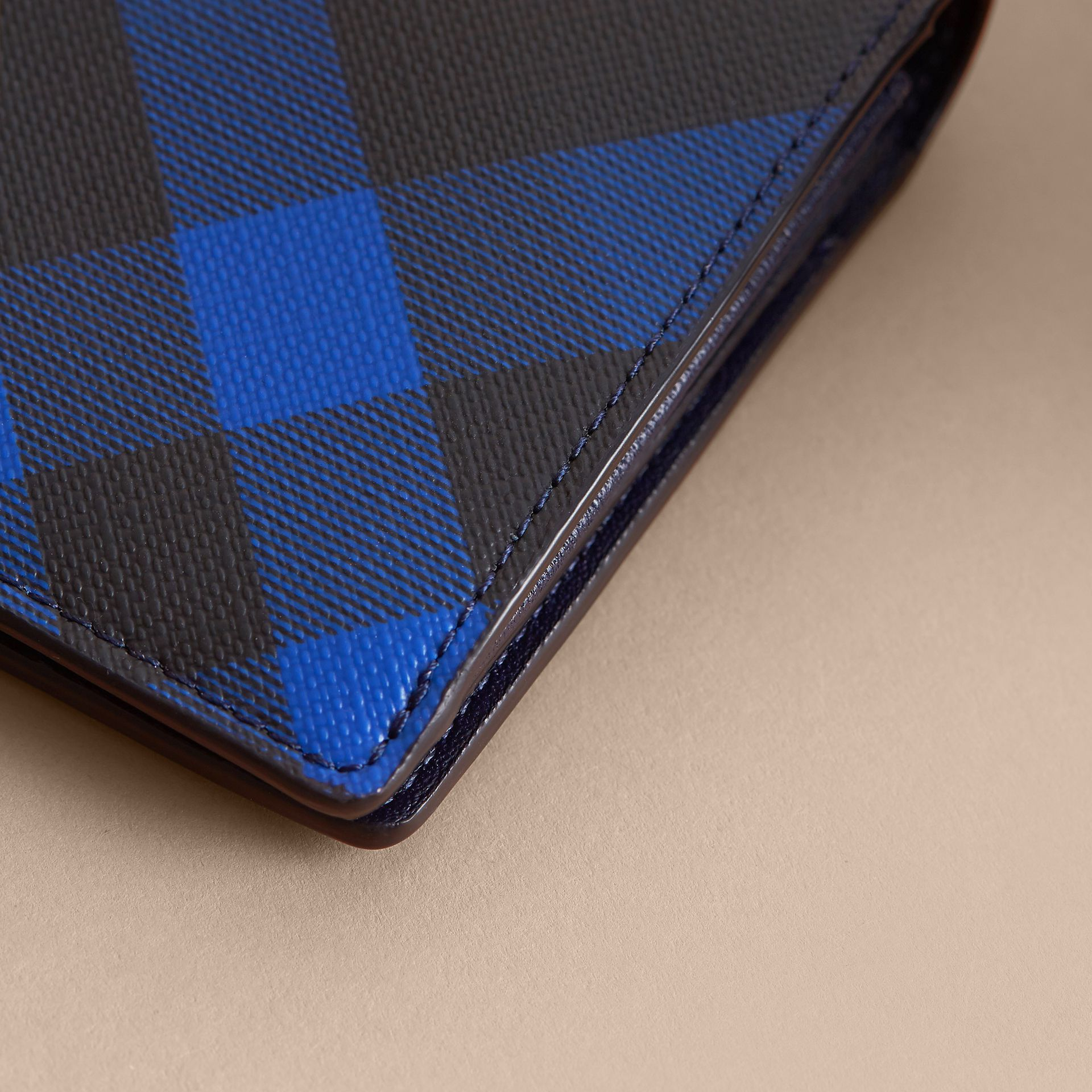 London Check and Leather Continental Wallet in Bright Lapis - Men | Burberry Singapore - gallery image 2