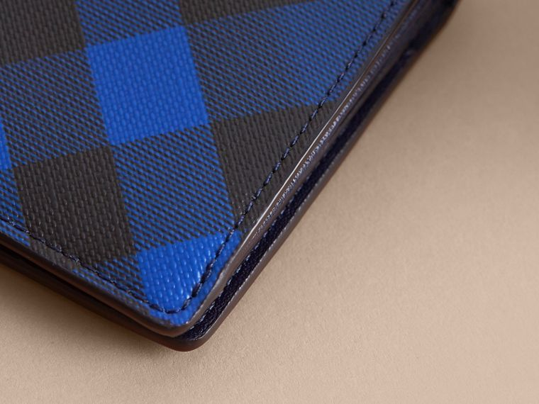 London Check and Leather Continental Wallet in Bright Lapis - Men | Burberry - cell image 1