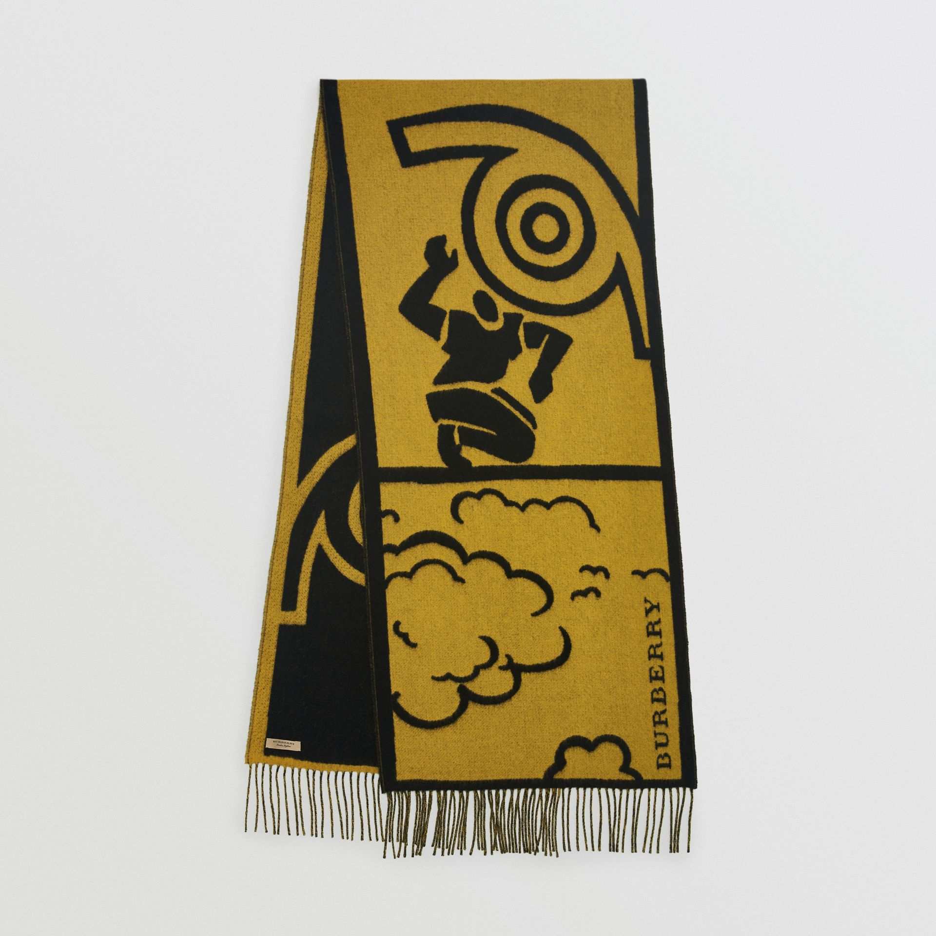 London Street Art Wool Cashmere Jacquard Scarf in Larch Yellow | Burberry - gallery image 0