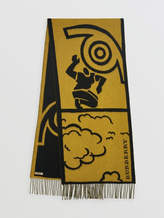 London Street Art Wool Cashmere Jacquard Scarf in Larch Yellow