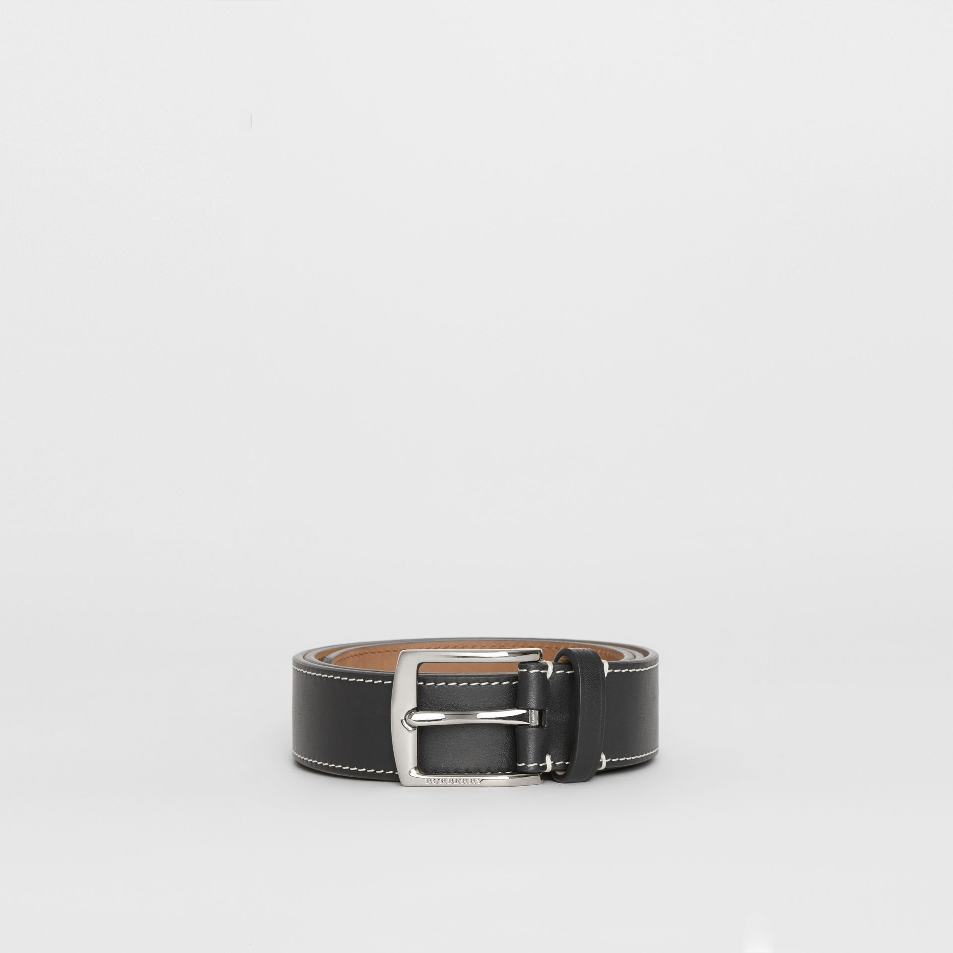 Topstitched Leather Belt in Black - Men | Burberry Canada - gallery image 3