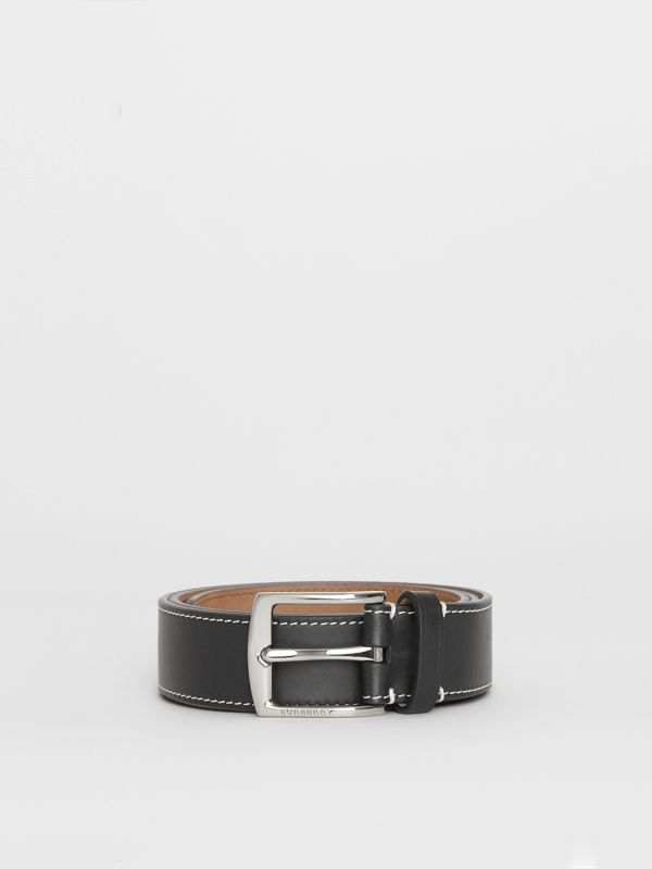 Topstitched Leather Belt in Black - Men | Burberry United Kingdom - cell image 3