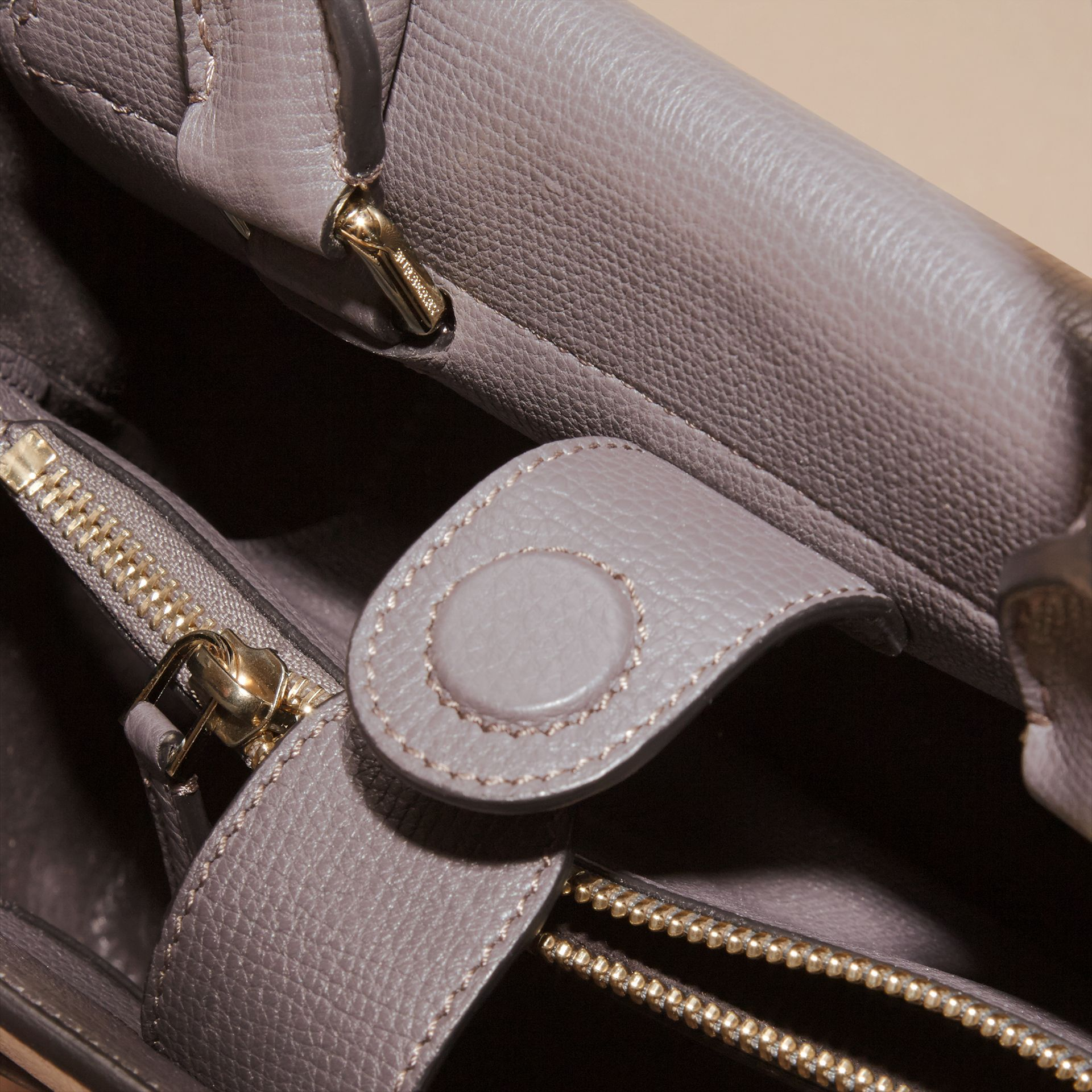 Sepia grey The Small Saddle Bag in Grainy Bonded Leather Sepia Grey - gallery image 5