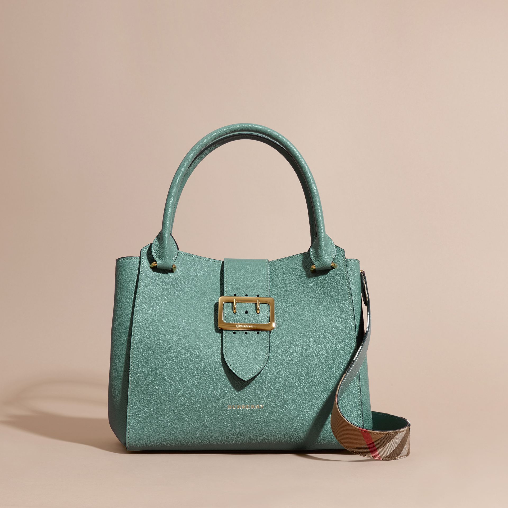 The Medium Buckle Tote in Grainy Leather in Eucalyptus Green - gallery image 8