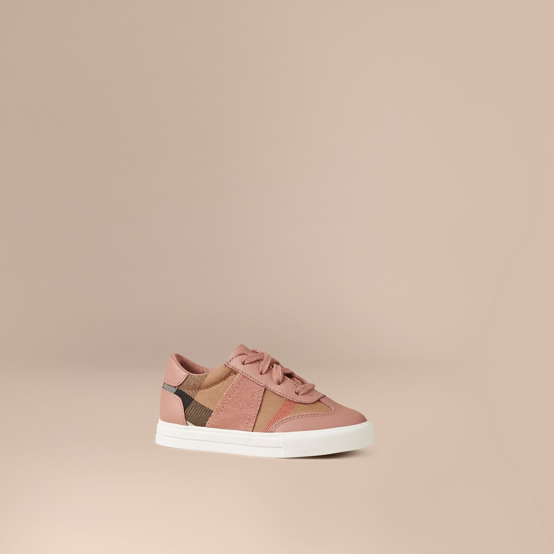 Nude blush House Check and Leather Trainers Nude Blush - gallery image 1