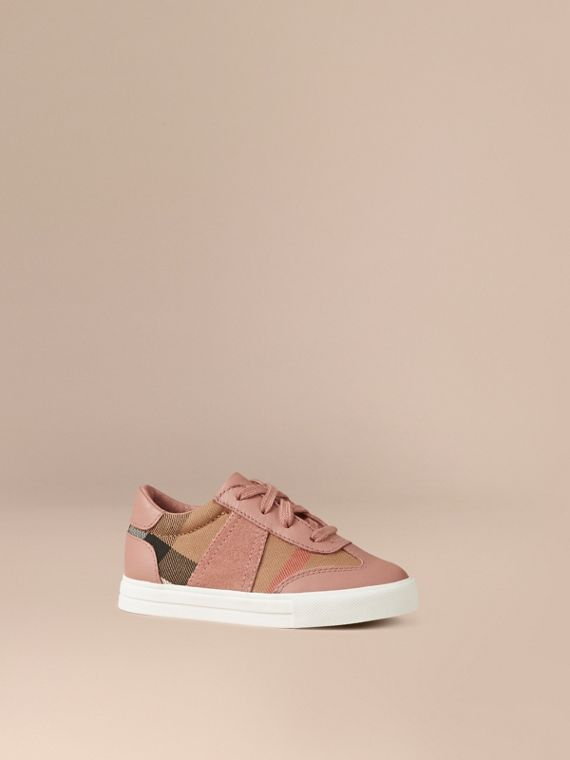 House Check and Leather Trainers Nude Blush