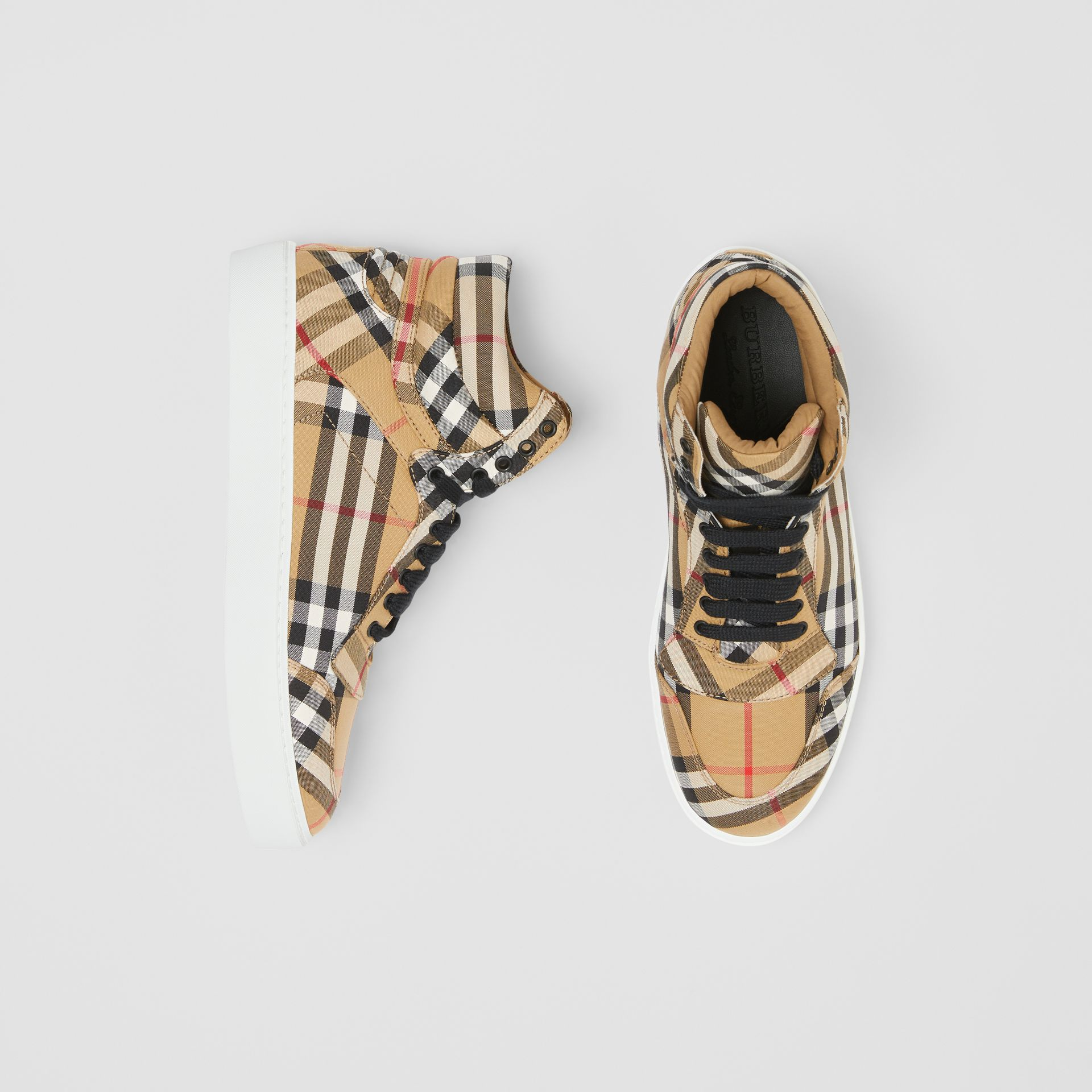 Vintage Check Cotton High-top Sneakers in Antique Yellow - Women | Burberry - gallery image 0