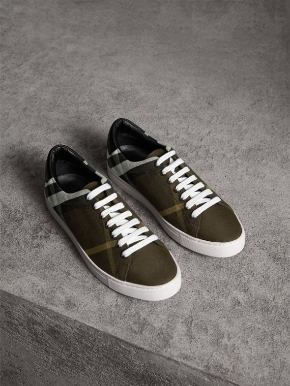 Overdyed House Check Cotton Trainers in Dark Military Green/black