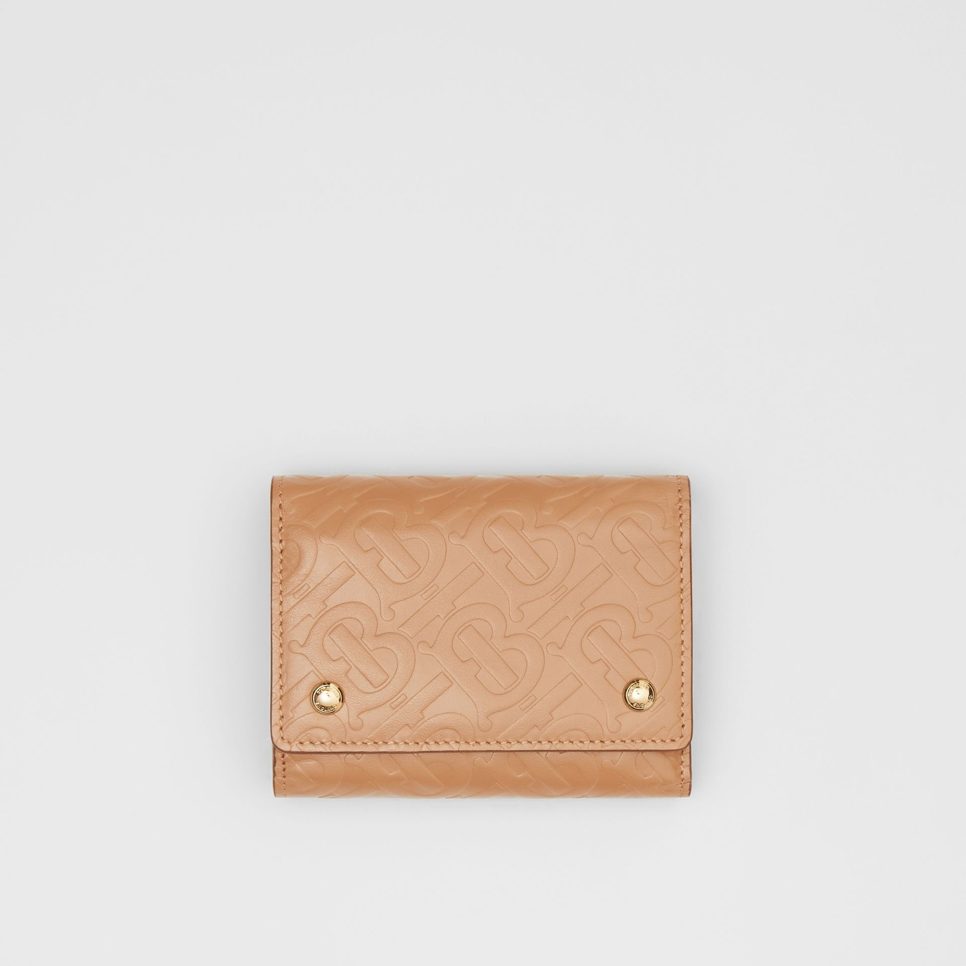 Small Monogram Leather Folding Wallet in Light Camel | Burberry - gallery image 0