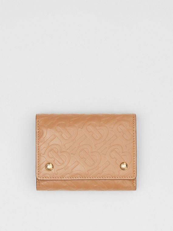 Small Monogram Leather Folding Wallet in Light Camel
