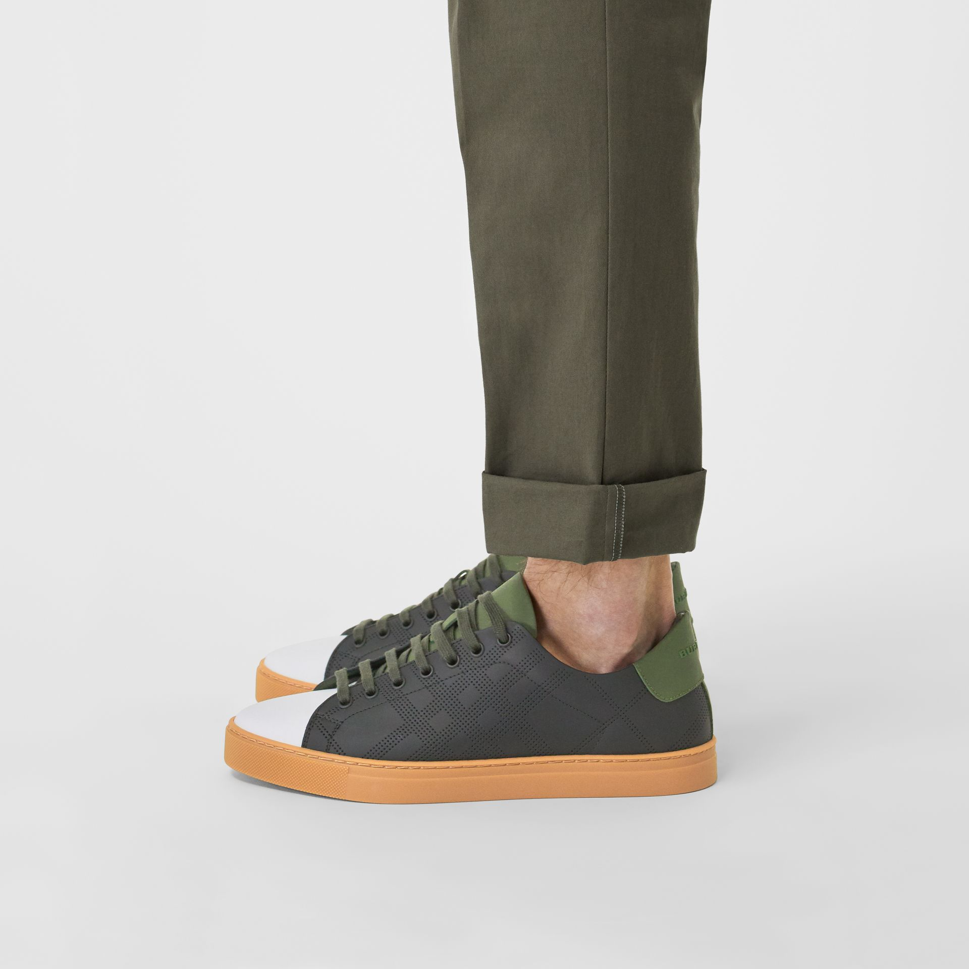 Perforated Check Leather Sneakers in Black/green - Men | Burberry United Kingdom - gallery image 2