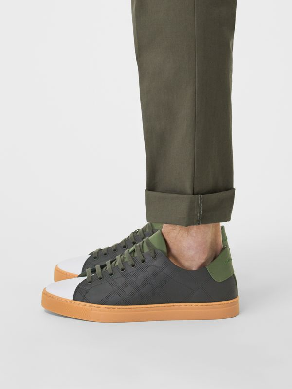 Perforated Check Leather Sneakers in Black/green - Men | Burberry United Kingdom - cell image 2