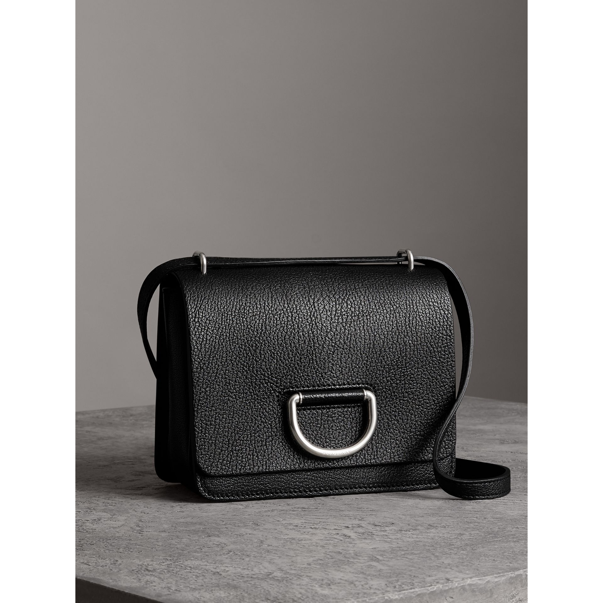 The Small Leather D-ring Bag in Black - Women | Burberry - gallery image 6