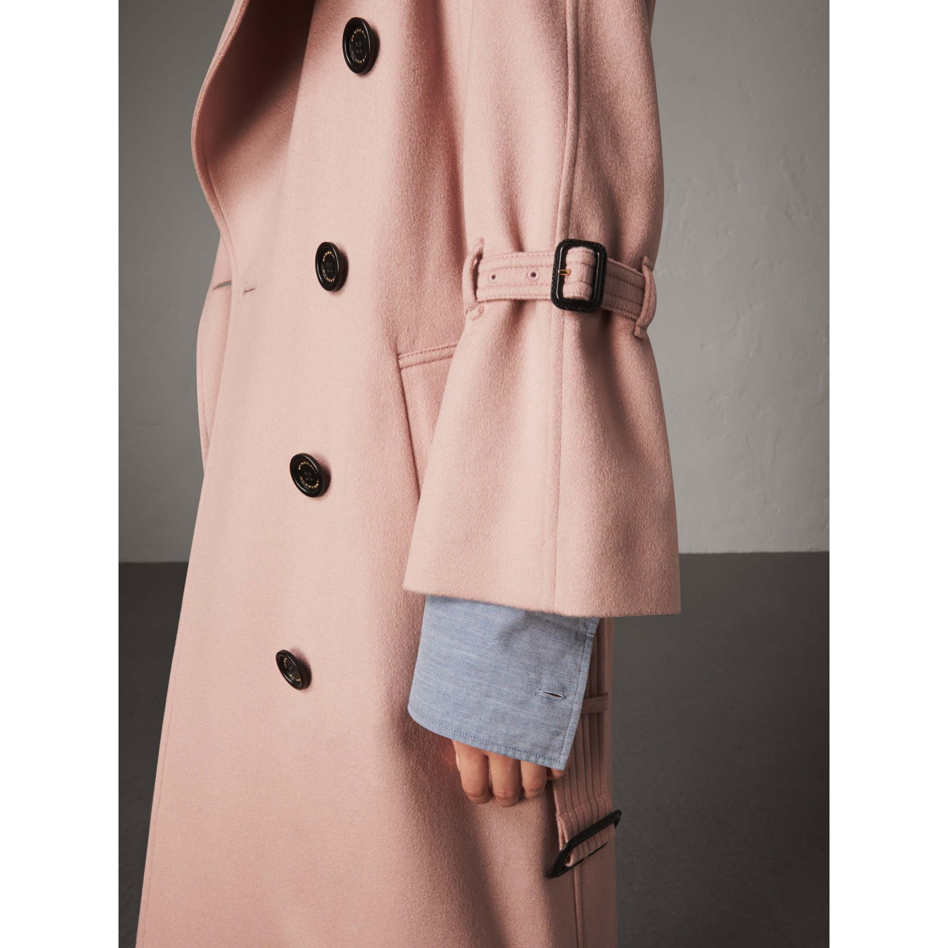 Ruffled Storm Shield Cashmere Trench Coat in Chalk Pink - Women | Burberry - gallery image 1