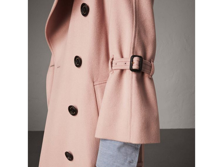 Ruffled Storm Shield Cashmere Trench Coat in Chalk Pink - Women | Burberry - cell image 1