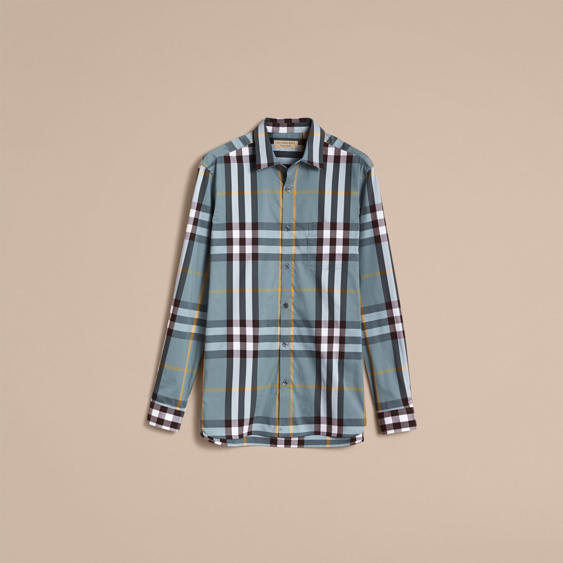 Check Stretch Cotton Shirt in Mineral Blue - Men | Burberry - gallery image 4