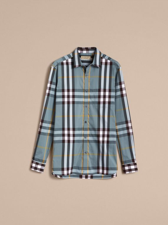 Check Stretch Cotton Shirt in Mineral Blue - Men | Burberry - cell image 3