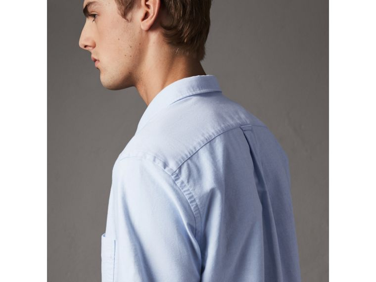 Check Detail Short-Sleeved Cotton Oxford Shirt in Cornflower Blue - Men | Burberry - cell image 1