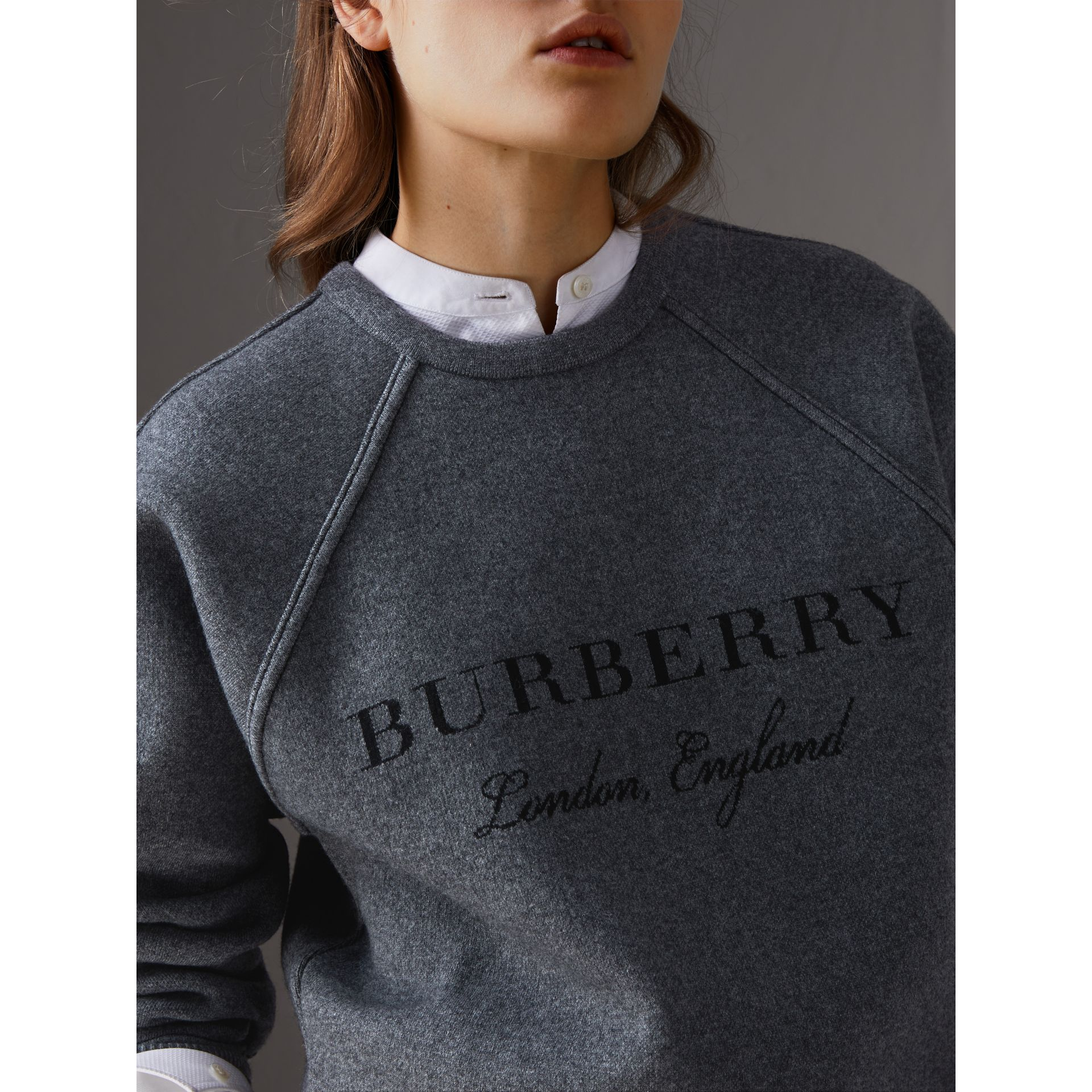 Topstitch Detail Wool Cashmere Blend Sweater in Mid Grey Melange - Women | Burberry United Kingdom - gallery image 1