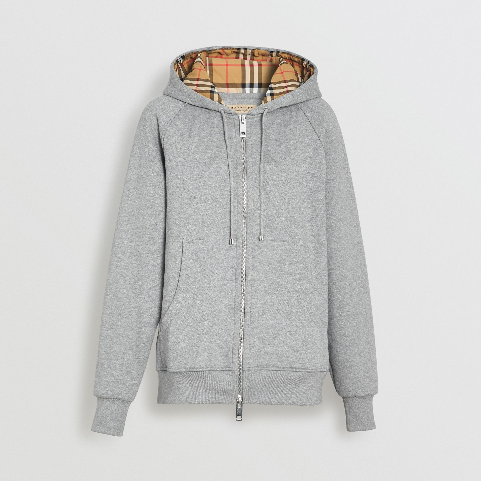 Vintage Check Detail Jersey Hooded Top in Pale Grey Melange - Women | Burberry Hong Kong - gallery image 3