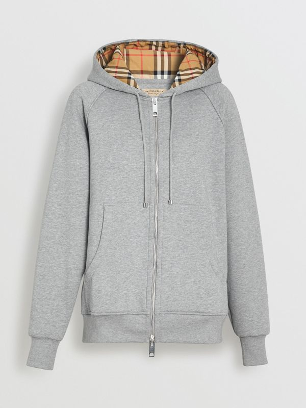 Vintage Check Detail Jersey Hooded Top in Pale Grey Melange - Women | Burberry Hong Kong - cell image 3