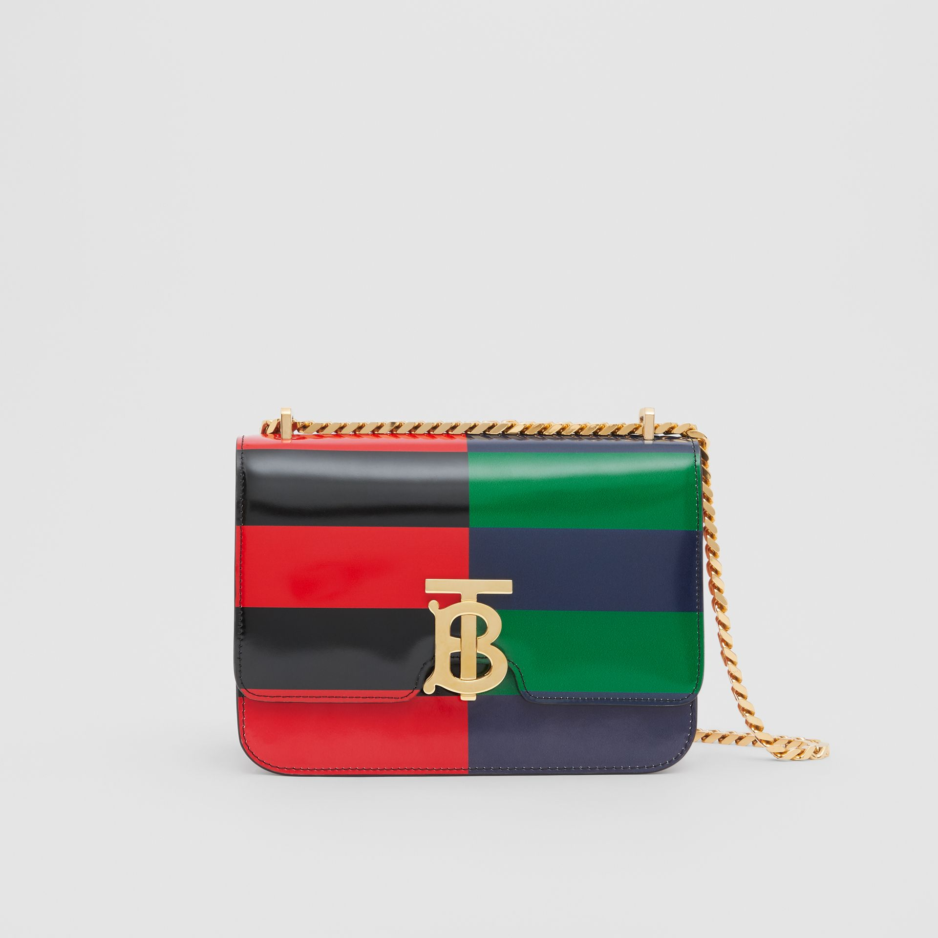 Small Striped Leather TB Bag in Black - Women | Burberry - gallery image 0