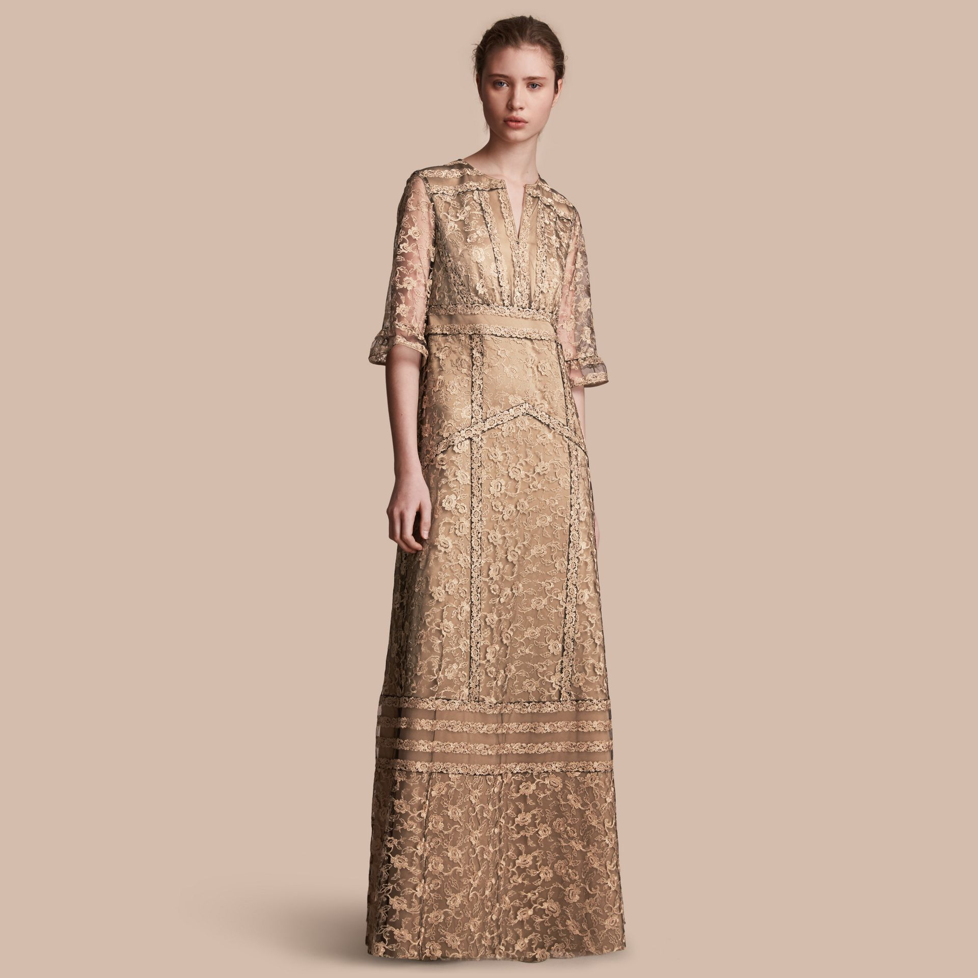 Floral Lace Tulle Dress in Gold - Women | Burberry - gallery image 1