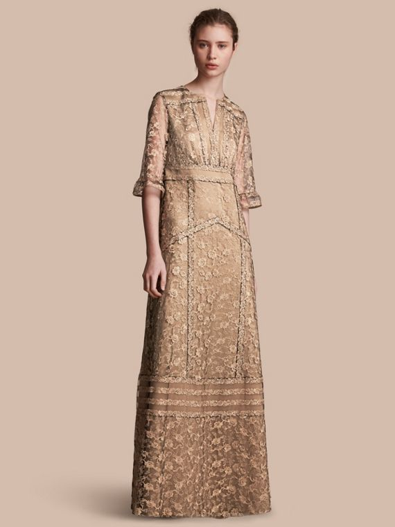 Floral Lace Tulle Dress Gold