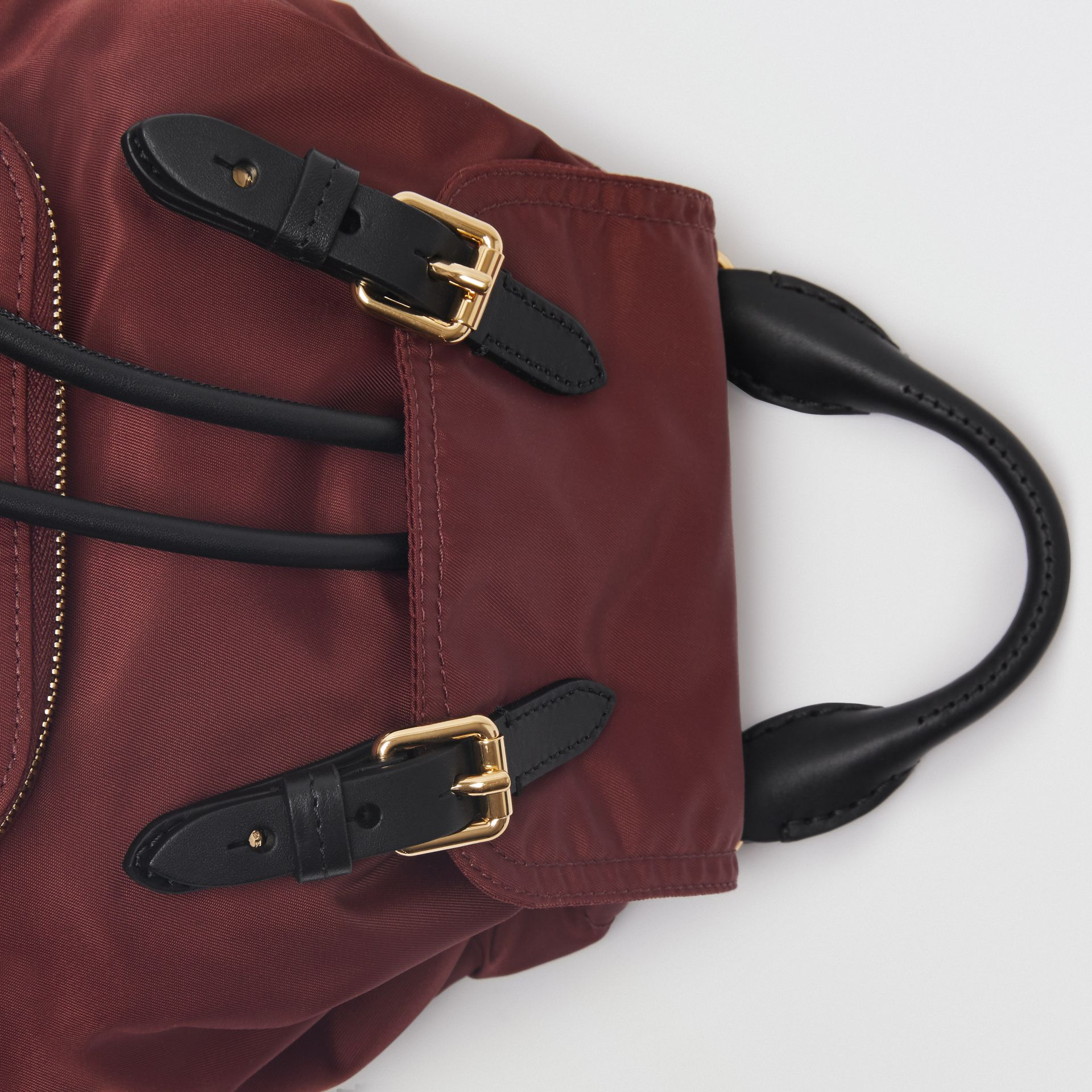 The Small Crossbody Rucksack in Nylon in Burgundy Red - Women | Burberry Australia - gallery image 1