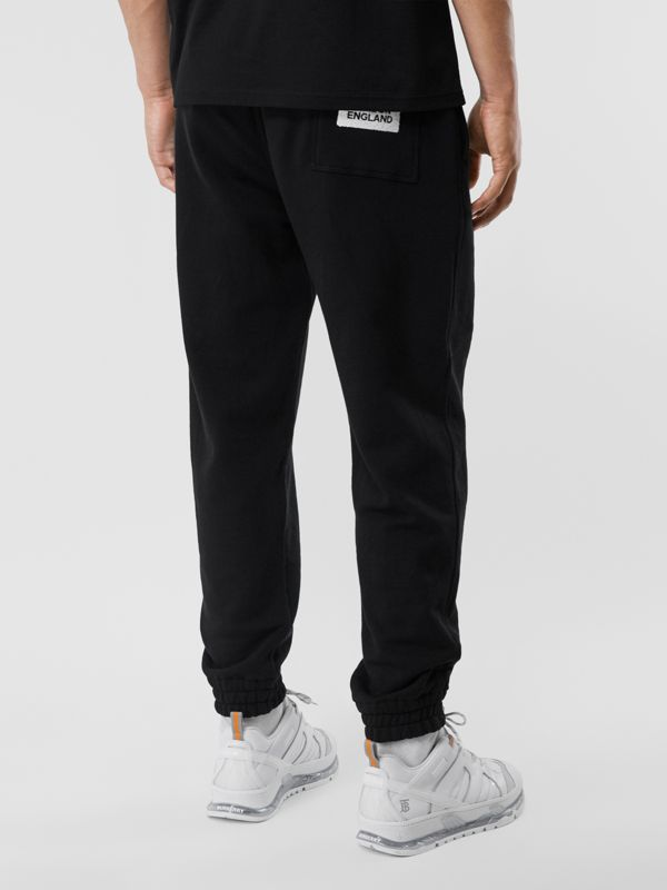 Logo Appliqué Cotton Trackpants in Black - Men | Burberry - cell image 2
