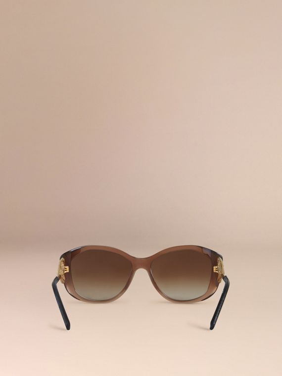 Gabardine Lace Collection Square Frame Sunglasses in Dark Amber - cell image 2