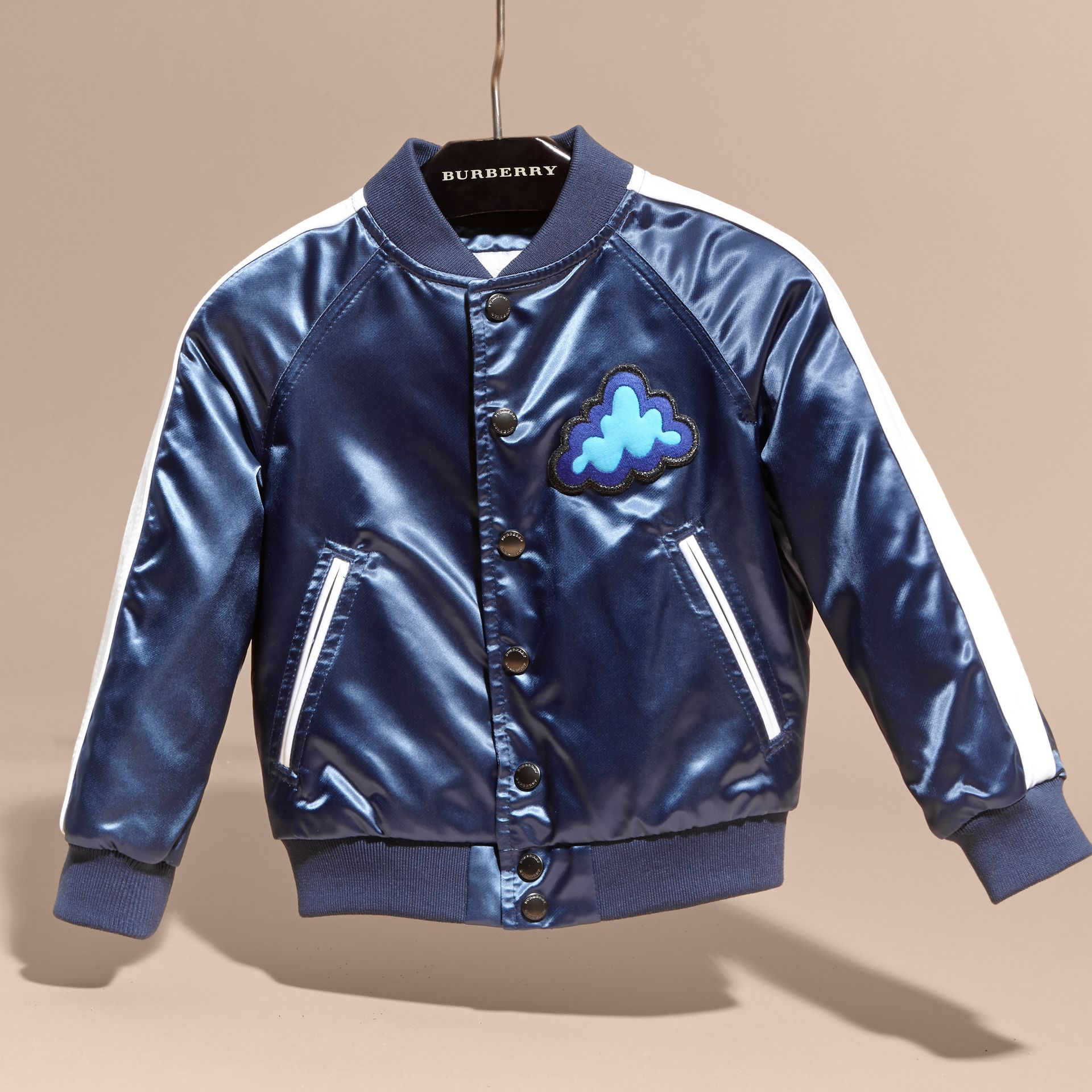 Bright navy Weather Appliqué Satin Bomber Jacket - gallery image 3