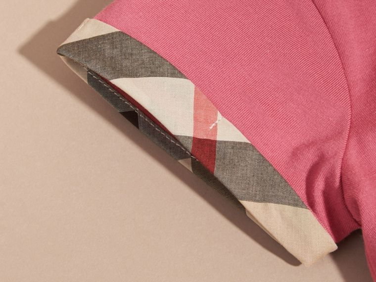 Pleat and Check Detail Cotton T-shirt in Pink Azalea - Girl | Burberry - cell image 1