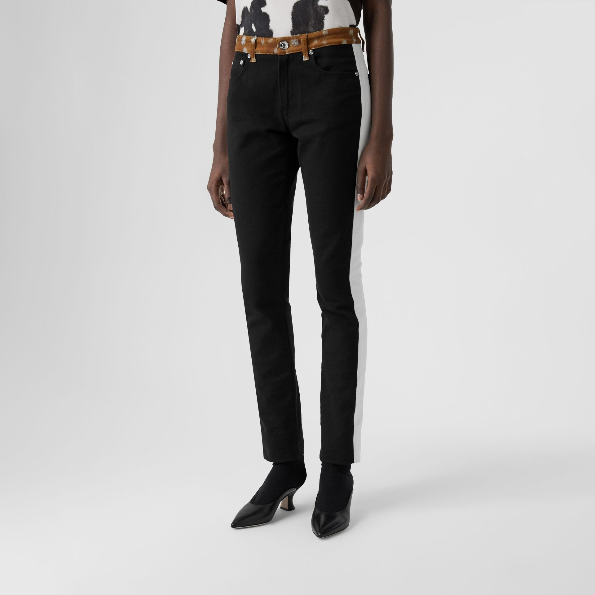 Straight Fit Deer Print Trim Japanese Denim Jeans in Black - Women | Burberry - gallery image 5