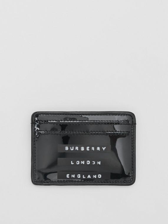 Tape Print Laminated Card Case in Black