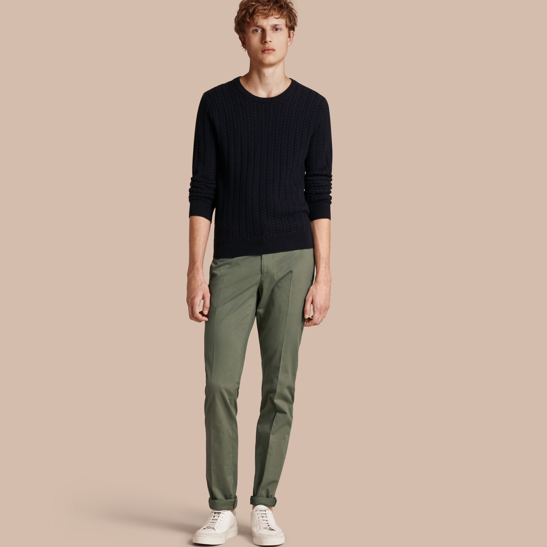 Slim Fit Stretch Cotton Trousers Khaki Green - gallery image 1