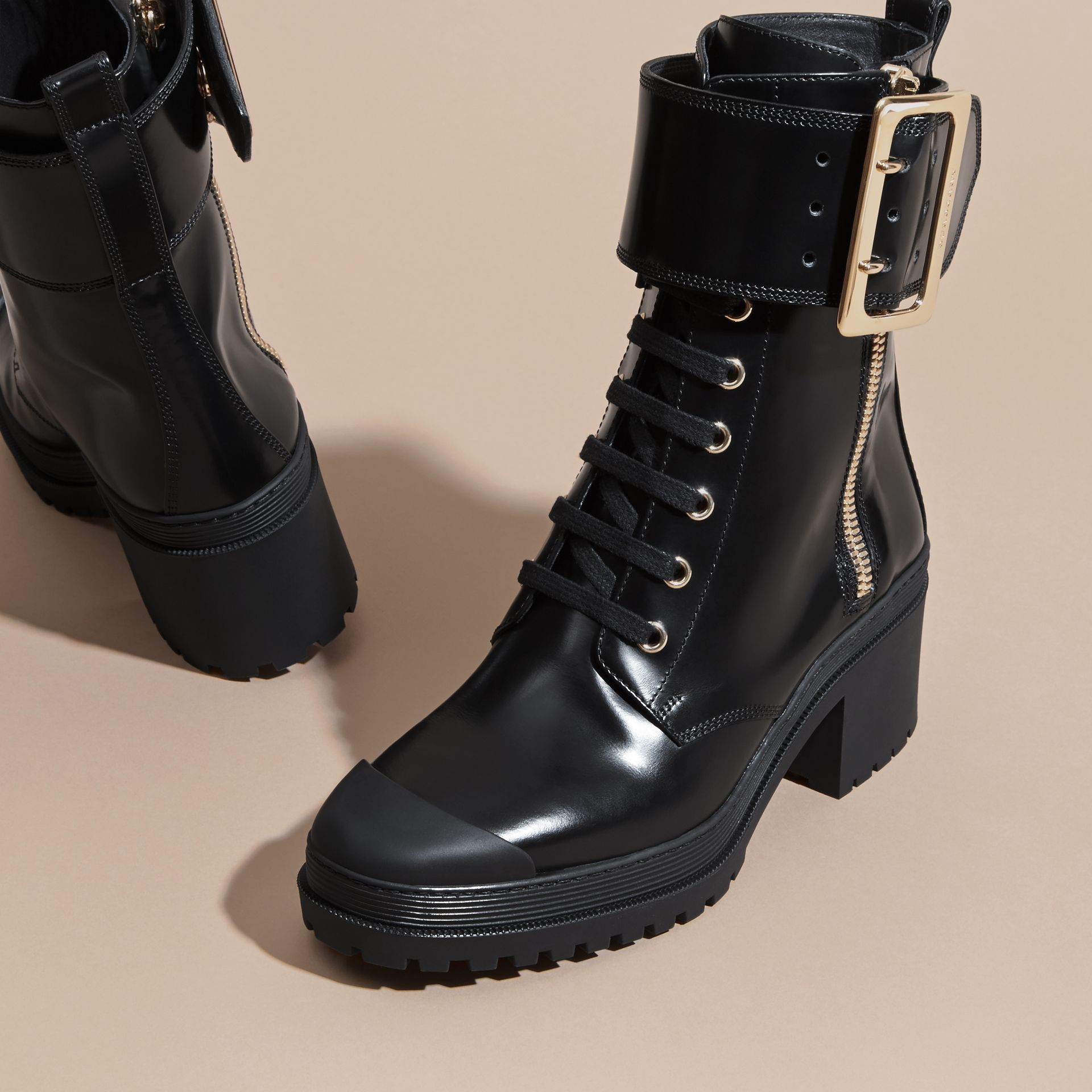 Black Leather Buckle Detail Boots Black - gallery image 3