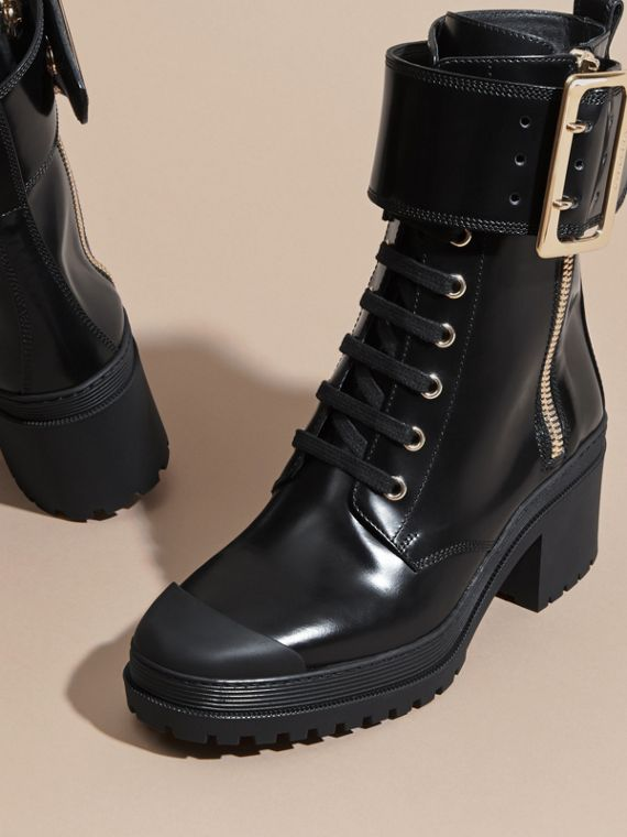 Leather Buckle Detail Boots Black - cell image 2