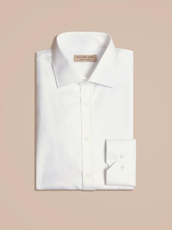Modern Fit Cotton Twill Shirt White
